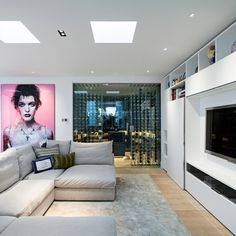 Pink oversized portrait in a contemporary Living Room in London, UK  by Maxwell & Company Architects