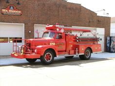 """Mt Morris Fire Protection District  - Engine Company 5703 is a 1962 International R185 Engine.  Engine 5703 has a 500 gallon per minute pump with a 500 gallon water tank.  5703 was our """"Village Engine"""" in it's time.  It currently proudly serves in parade duty.  Recently the Firefighter's Association replaced the lettering with 18K Gold Leaf lettering to help preserve it's traditional apperance. #Setcom #Fire http://setcomcorp.com/csbheadset.html"""