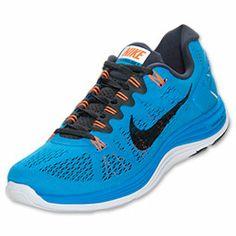 Men's Nike LunarGlide+ 5 Running Shoes | FinishLine.com | Blue Hero/Total Orange/White