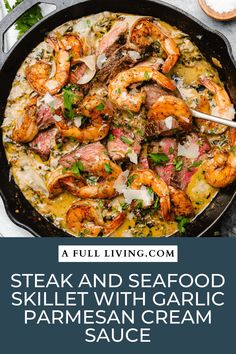 This super simple one skillet dinner is a delicious mashup of steak and seafood, with a luscious and creamy parmesan garlic sauce. Load up this skillet with steak, juicy shrimp, and garlic parmesan cream sauce with spinach. #SurfandTurf #SteakandSeafood #OneSkilletDinner #SteakandShrimp #CastIronCooking Parmesan Cream Sauce, Garlic Parmesan, Garlic Sauce, Steak Recipes, Shrimp Recipes, Cooking Recipes, Shrimp Meals, Steak And Seafood, Skillet Dinners