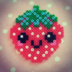 Kawaii strawberry hama beads  by kutitus