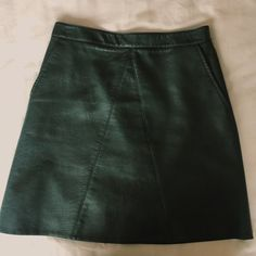 9971c7016 Zara dark green PU/faux leather A-line skirt with back zip. Very. Depop