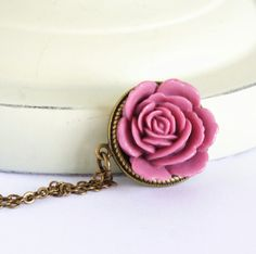 Pink Jewelry Dusty Pink Flower Necklace Pink by JacarandaDesigns, $25.00