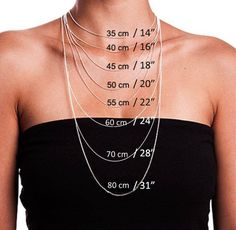 Choosing the Right Necklace Length - Necklace Lengths - Necklace Size Chart - jewels - Halskette Necklace Size Charts, Necklace Length Chart, Necklace Sizes, Diy Necklace, Necklace Lengths, Chain Length Chart, Cute Jewelry, Jewelry Crafts, Beaded Jewelry