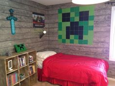 Explore the designs of Minecraft Bedroom Ideas at The Architecture Designs. Visit for more ideas of Minecraft themed bedroom ideas. Minecraft Room Decor, Minecraft Wall, Minecraft Party, Boys Minecraft Bedroom, Minecraft Bedding, Minecraft Furniture, Minecraft Skins, Minecraft Buildings, Bedroom Themes