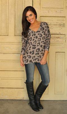 Dottie Couture Boutique - Mocha Leopard Tunic, $36.00 (http://www.dottiecouture.com/mocha-leopard-tunic/)
