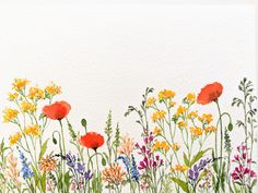 Watercolor Wildflower Meadow - Composition and more Sushma Hegde Skillshare Watercolor Cards, Watercolor Flowers, Watercolor Paintings, Watercolor Portraits, Watercolor Landscape, Simple Watercolor, Watercolor Artists, Abstract Watercolor, Landscape Art