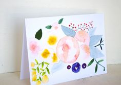Blush and Berries Greeting Card by BethanyEdenArt on Etsy