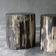 Petrified Wood stools by Blaxsandi- I could figure out how to make these.