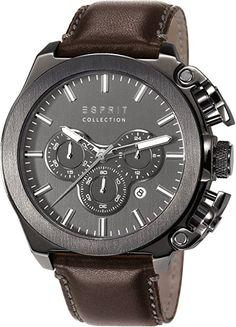 Esprit EL102181003 - Reloj para hombres, correa de cuero color marrón-PREFERIDO-