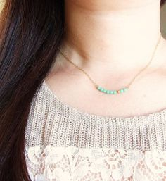 Mint & Gold Bar Necklace . delicate minimal by CocoroJewelry