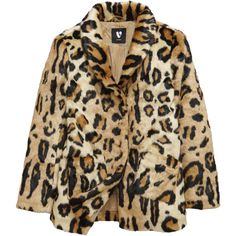 V By Very Girls Leopard Print Faux Fur Coat (170 NOK) ❤ liked on Polyvore featuring outerwear, coats, coats & jackets, jackets, fur jacket, brown coat, leopard print faux fur coat, collar coat, faux fur coat and vintage faux fur coat
