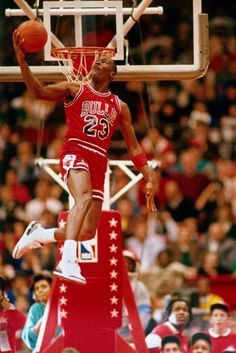 finest selection 59a40 8e9cc Michael Jordan of the Chicago Bulls performs in the NBA All-Star Weekend Slam  Dunk Contest on February 1988 at The Chicago Stadium in Chicago, Illinois.