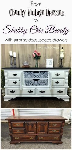 Give your vintage dresser a shabby chic makeover by adding a decoupage print to the drawers. Because painted furniture with added decoupage is sure to wow. #shabbychicdressersmakeover #shabbychicdressersvintage #shabbychiccraftsdecoupage