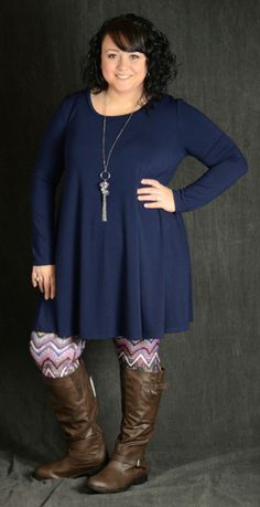 Navy Pocket Tunic Dress - Curvy Plus Size Boutique - 3