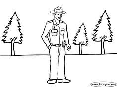 park ranger coloring page