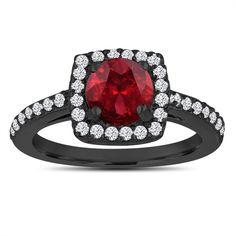 Red Garnet Engagement Ring, Wedding Ring 14K Black Gold Unique Vintage Style 1.58 Carat Certified Pave Halo Handmade