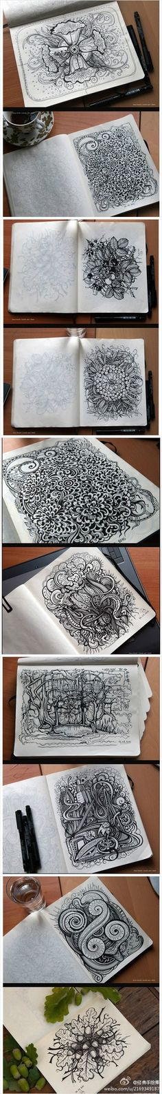 Black and white zentangle