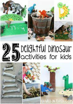 25 Delightful Dinosaur Activities for Kids - Play Ideas Dinosaurs Preschool, Preschool Activities, Dinosaur Party Activities, Vocabulary Activities, Indoor Activities, Family Activities, Summer Activities, Toddler Activities, Dinosaur Projects