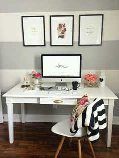 You won't mind getting work done with a home office like one of these. See these 20 inspiring photos for the best decorating and office design ideas for your home office, office furniture, home office ideas Home Office Space, Home Office Decor, Office Spaces, Work Spaces, White Desk Home Office, Ikea Office, Gold Office, White Desks, Home And Deco