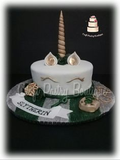 Harry Potter Slytherin Unicorn Birthday Cake CraftPastryBoutique