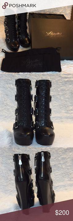 """Alejandro Ingelmo Black lace up zippered Platforms Authentic  Alejandro Ingelmo 5.75"""" wedge  Originally $580 Excellent condition  Black, lace up, zippered, wedge, platform  **CS000 Alejandro Ingelmo Shoes Platforms"""