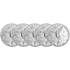 MX 2016 Mexico Silver Libertad Five 5 (1 oz) Coins Brilliant Uncirculated