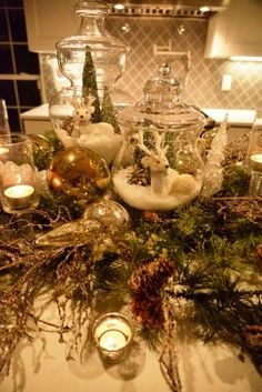 I love using Apothecary Jars, other glass pieces and candles for a Christmas Centerpiece!