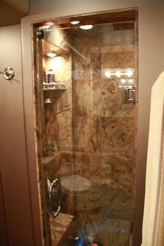 Luxury Shower on one of Montgomery Gentry's Tour Bus. See more celebrity motor homes here >>