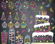 "Chalkboard Birthday Party Clip Art, ""Birthday CLIP ART"" pack,Party Clip art,Balloon,Cup Cake,Banner,Star,Present, Invitations Pt012"