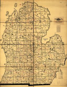 This map from Frank H. Galbraith, created in 1897, illustrates the scope of railway expansion throughout southern Michigan at the time, with fanciful illustrations as a bonus.