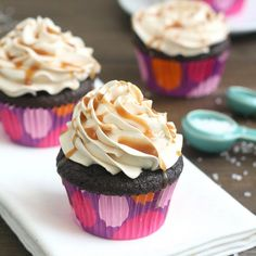 Dark Chocolate Salted Caramel Cupcakes