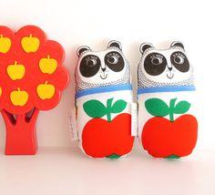 Screen printed handmade toy Panda plush with 70s door Janefoster, $18.80