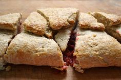 Strawberry rhubarb slab scones