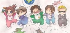 Claire, Leon, Chris, Jill and Albert as babies x3
