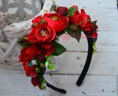 Купить Ягодный веночек с розами - разноцветный, ягодный ободок, венок с ягодами, ободок с ягодами