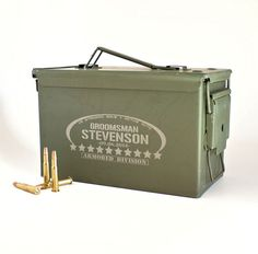 Groomsmen Ammo Box, Personalized REAL 50 cal Ammunition Box, Groomsman Gift, Father of the Bride, Best Man, Grooms Survival Kit on Etsy, $32.00