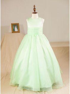 Ball Gown Floor-length Flower Girl Dress - Organza Sleeveless Scoop Neck (Petticoat NOT included)