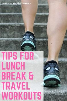 Exercise is crucial in staying healthy. Here are some tips for better lunch break workouts and ways to workout while traveling, for those of you short on time! ******************************************* lunch break workouts, workout while traveling, benefits of working out, lunchtime workouts, #lunchbreakworkouts #workoutontheroad #exercise