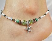 Anklet Ankle Bracelet, Starfish Anklet, Seafoam Green Crystals, Turquoise, Copper, Mixed Metal Vacation Jewelry Beaded Anklet Beach Anklet