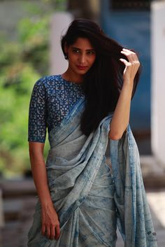 Beautiful Summer 2017 #Khadi #Cotton #Saree n Blouse by @qohindia in Indigo Blues, HBP Khadi Cotton Saree, via @sunjayjk