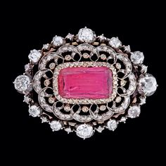 Circa 1850 Russian pink tourmaline and diamond brooch. According to family, the brooch was a gift from Emperor Nikolay I to the Danish soprano Sophie Östergaard.