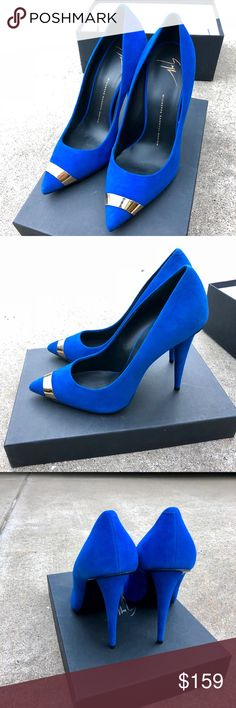 """🎉Holiday SALE🎉Giuseppe Zanotti Cobalt Blue Heels Worn once in perfect condition! Turn those head with the this pair of cobalt blue butter suede heels with gold metal accent. 4"""" heel height. Size 39. Perfect for holiday parties 🎉 Giuseppe Zanotti Shoes Heels"""