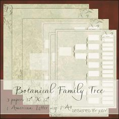 "FREE Botanical Family Tree Papers ~ These album pages are an 'Add 0n' to the Botanical 2 Heritage Scrapbook pages. The 12""x12"" kit has 2 lightly patterned pages and one with a 5 generation Family Tree to fill in. As a bonus there is also an A4 and an American letter size file."