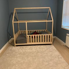 New US Queen Size House bed frame floor bed, toddler bed baby bed montessori bed kids bedroom birch bed home developing toy – Baby Development Wood Nursery, Nursery Crib, House Tent, Toy House, Diy Toddler Bed, Kids Bed Frames, Teepee Bed, House Frame Bed, Painted Beds