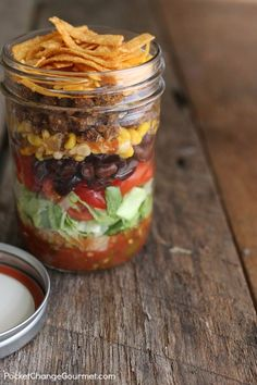 Best Recipes in A Jar - Taco Salad In A Jar - DIY Mason Jar Gifts, Cookie Recipes and Desserts, Canning Ideas, Overnight Oatmeal, How To Make Mason Jar Salad, Healthy Recipes and Printable Labels http://diyjoy.com/best-recipes-in-a-jar