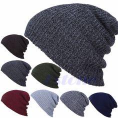 413bfa9a686 Men s Women s Knit Baggy Beanie Oversize Winter Hat Ski Slouchy Chic Cap  Skull