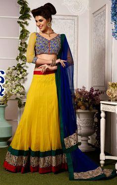 USD 84.04 Yellow Net Wedding Lehenga Choli 47355