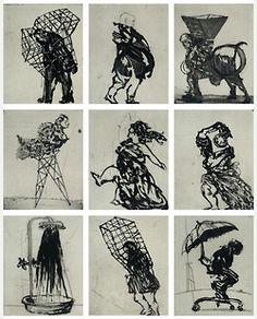 WILLIAM KENTRIDGE, born 1955 Zeno at 4 am 2001 sugarlift etching (set of 9). Desenho interessante por se repartir por 9 retângulos onde são representadas várias figuras no decorrer de ações diferentes. Carvão e grafite são as técnicas usadas.