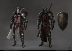 Art featuring medieval knights and their fantasy/sci-fi counterparts. Medieval Knight, Medieval Armor, Medieval Fantasy, Fantasy Armor, Dark Fantasy Art, Fantasy Character Design, Character Art, Armor Concept, Concept Art